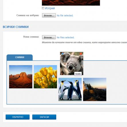 Добавена е опция за сортиране на снимки в албумите на сайтовете